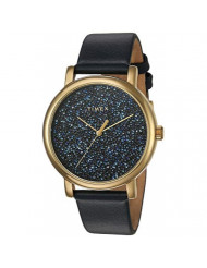 Timex Women's TW2R98100 Crystal Opulence Blue/Gold Leather Strap Watch