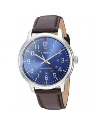 Timex Men's TW2R85400 Classic 43mm Brown/Blue Leather Strap Watch