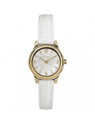 Timex Women's TW2R85900 Classic 26mm White/Gold-Tone/Silver-Tone Croco Pattern Leather Strap Watch