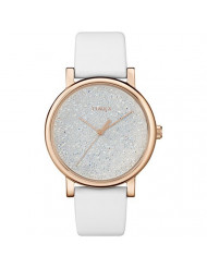 Timex Women's TW2R95000 Crystal Opulence White/Gold Leather Strap Watch