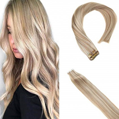 Sunny Tape in Blonde Hair Extensions Human Hair 16 inch #18/613 Ash Blonde Highlighted Bleach Blonde Natural Human Hair Tape in Extensions Soft Smooth 20 pc/50g