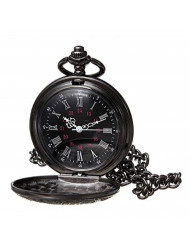 WIOR Black Classical Pocket Watch Retro Steampunk Pattern Quartz Numerals Pocket Watch with 14.5 in Chain for Xmas Birthday Fathers Day Gift (A)