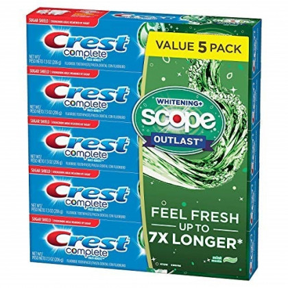 Crest Complete Whitening + Scope Mint Outlast Toothpaste, 5 pk./7.3 oz