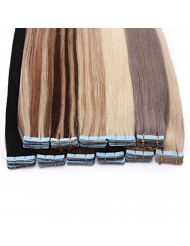 SEGO 20 Pieces Rooted Tape in Hair Extensions Human Hair Seamless Skin Weft 100% Real Remy Invisible Tape Hair Extensions Straight Double Sided 24 inches #02 Dark Brown 50g