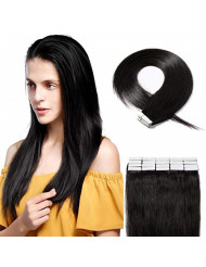 SEGO 20 Pieces Rooted Tape in Hair Extensions Human Hair Seamless Skin Weft 100% Real Remy Invisible Tape Hair Extensions Straight Double Sided 18 Inches #1B Natural Black 50g