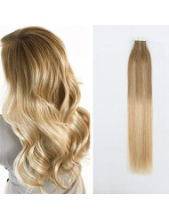 Sassina Invisable Skin Weft Double Side Human Hair Tape in Extensions Balayage Ash Brown Fading to Dark Honey Blonde to Platinum Ash Blonde 50 Grams with 20 Pieces (B8-18-60 20 Inch)