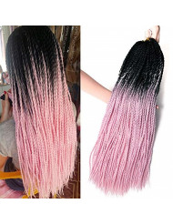 VERVES Ombre Senegalese Twist Hair 6 pack/lot 24 inch Crochet braids 30 Roots/pack Kanekalon Synthetic Braiding Hair for Women (black ombre pink)