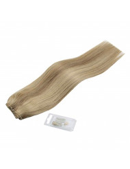 Sunny Hair 12inches Halo Hair Extensions Human Hair Golden Blonde Highlight with Medium Blonde Invisible Wire Hair Extensions Remy Hair 80g/pack