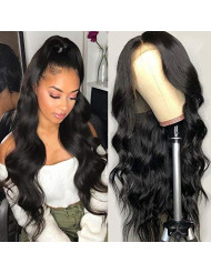 HC Hair 8A Body Wave Lace Front Wigs for Black Women 150% Density Peruvian Wet and Wavy Virgin Hair 13x4 Lace Wigs Pre Plucked (24inch, Natural Color)