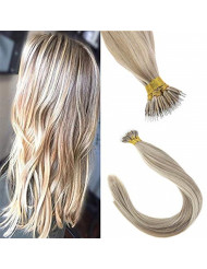 Sunny 20inch Nano Ring Bead Extensions Human Hair Blonde Highlight Remy Straight Nano Tip Hair Extensions 50g/pack