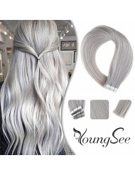 Youngsee Silver Tape in Hair Extensions 20pcs/50g Skin Weft Grey Tape in Remy Hair Extensions Human Hair Glue in Hair Extensions 14inch