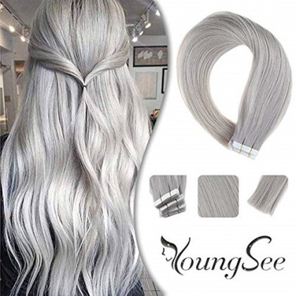 Youngsee Silver Hair Extensions Tape in Human Hair 16inch Seamless Tape in Human Hair Extensions Glue on Human Hair Extensions 20pcs/50g