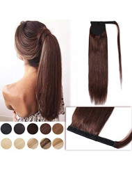 Wrap Ponytail Extensions Remy Human Hair Magic Paste Wrap Around Pony Tail Hairpiece for Women 20 Inch One Piece #4 Medium Brown