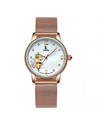 Women's Automatic Watch, Stainless Steel Mesh Band Self Winding Lady Dress Watch (Rose Gold)
