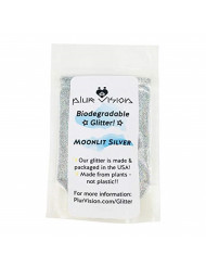 Moonlit Silver Biodegradable Glitter 1/2 Ounce - Made from Plant Cellulose, Earth Friendly. Perfect for Body, Cosmetics, Crafts, DIY Projects. Can be Mixed with Lotions, Gels, Oils, Face Paint