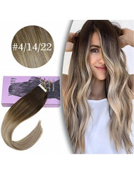 VeSunny Blonde Tape in Remy Hair Extensions Balayage #4 Dark Brown Fading to #14 and #22 Blonde Skin Weft Two Tone Human Hair Tape on Hair Extensions 22inch 20pcs 50g/pack