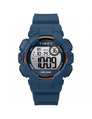 Timex Unisex TW5M23500 DGTL Mako Digital 44mm Blue/Gold-Tone Silicone Strap Watch