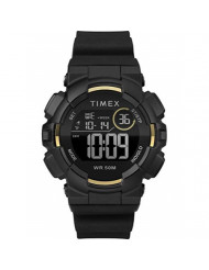 Timex Unisex TW5M23600 DGTL Mako Digital 44mm Black/Gold-Tone Silicone Strap Watch