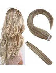 Sunny 20inch Remy Hair Extensions Tape in Human Hair #18 Ash Blonde Highlighted with #613 Bleach Blonde Skin Weft Seamless Hair Extensions Double Sided Tapes Remy Human Hair 50g/20pcs