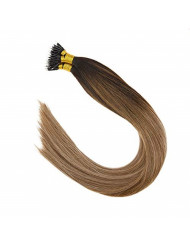 """Sunny 16"""" Nano Bead Hair Extensions Darkest Brown Root to Light Brown Fading to Ash Blonde Balayage Human Hair Extensions Real Human hair Extensions Nano Ring 50g/pack"""