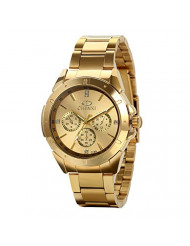 Avaner Mens Gold Watch Analog Dial Quartz Rhinestone Iced Out Pave Wrist Watch Stainless Steel Charm Bracelet (Gold-1) (Gold-2)