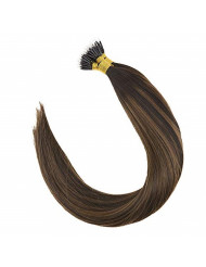 VeSunny 18inch Brown Nano Hair Extensions Human Hair Balayage Color #2 Darkest Brown Fading to #6 Medium Brown mixed Brown Nano Beads Ring Remy Hair Extensions 50G Per Package