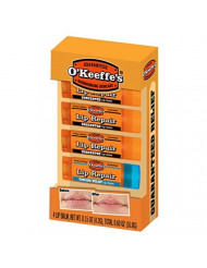 O'Keeffe's Lip Repair Lip Balm Giftbox Including 3 Unscented Lip Repair Sticks and 1 Cooling Relief Lip Repair Stick