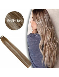 VeSunny 22inch Real Human Hair Tape in Hair Extensions Blonde Highlights Color #6 Medium Brown Fading to #60 Platinum Blonde mixed #6 Brown Highlights Hair Extensions Tape in 20pcs 50 Gram