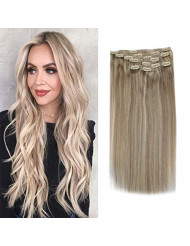Sunny Clip in Extensions Blonde Human Hair 24 Inch Highlighted Color Ash Blonde Mix Blonde Double Weft Clip on Hair Extensions Real Hair Long Soft 7pcs 120g/set