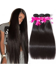 Subella Brazilian Straight Hair 3 Bundles 22 24 26inch Grade 9A Virgin Straight Human Hair Bundles Natural Black Color Hair Weave