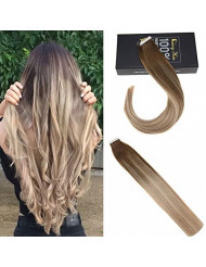 Sunny 16inch Balayage Hair Extensions Tape in Human Hair Full Head Set Tape in Extensions Straight Hair #6 Brown Fading to #18 Ash Blonde with #22 Blonde 50g/20pcs