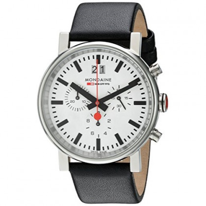 Mondaine SBB Chronograph Wrist Watch Unisex (A690.30304.11SBB) Swiss Made, Black Leather Strap, Silver Stainless Steel Case, White Face and Black Markers