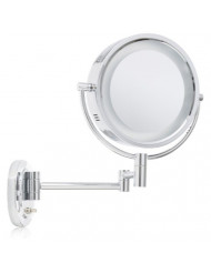 Jerdon HL65C 8-Inch Lighted Wall Mount Makeup Mirror with 5x Magnification, Chrome Finish