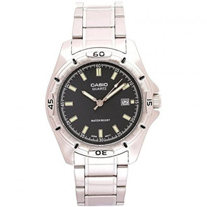 Casio Men's MTP1244D-8A Silver Stainless-Steel Quartz Watch with Black Dial