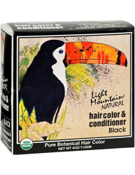 Light Mountain Natural Hair Color & Conditioner, Black - 4 Oz