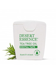 Desert Essence Tea Tree Oil Dental Tape - 30 Yards - Naturally Waxed w/ Beeswax - Thick Flossing No Shred Tape - On The Go - Removes Food Debris Buildup - Cruelty-Free Antiseptic