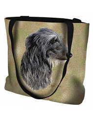 Scottish Deerhound Hand Finished Large Woven Tote or Shoulder Bag with Magnetic Clasp 100% Cotton Double Sided Made in USA by Artisan Textile Mill Pure Country Weavers