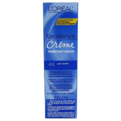L'Oreal Excellence Creme Resistant # 4X Dark Brown 1.74 oz. (Case of 6)