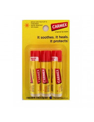Carmex Classic Medicated Lip Balm, SPF 15, 3 ct (Stick in Blister Pack)