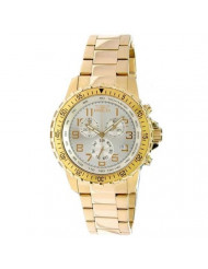 Invicta Men's 11369 Specialty Pilot Design Chronograph Silver Dial 18k Gold Ion-Plated Stainless Steel Watch