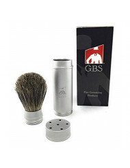 GBS 100% Pure Badger Bristle Travel Shaving Brush, NEW Generation Silver Gray Metal Canister Compliments Any Shaving Razor For The Ultimate and Best Wet Shaving Experience