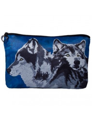 Wolves Cosmetic Bag, Wolf Zip-top Closer - Taken From My Original Paintings (Wolves - Spirited Pack)