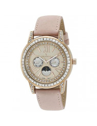 Peugeot Women Crystal Bezel Dress Watch, Day Date Moon Phase Function and Mother of Peal Dial with Roman Numeral, Pink Suede Strap