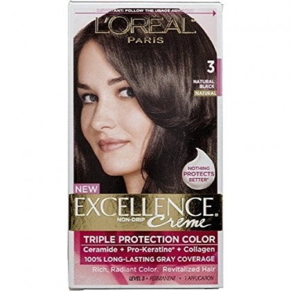 L'Oreal Excellence Creme - 3 Natural Black (Natural) 1 Each (Pack of 4)