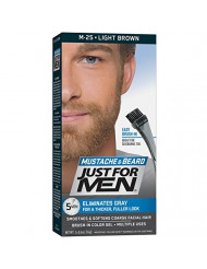 Just For Men Mustache & Beard, Beard Coloring for Gray Hair with Brush Included - Color: Light Brown, M-25