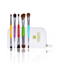 SHANY 5 Piece Double Sided Essential Brush Set with Travel Pouch, The Double Trouble