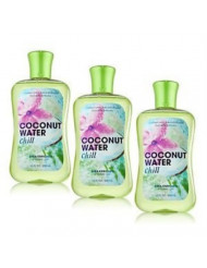 Lot of 3 Bath & Body Works Signature Collection Coconut Water Chill Shea Enriched Shower Gel 10 Fl Oz Each (Coconut Water Chill)