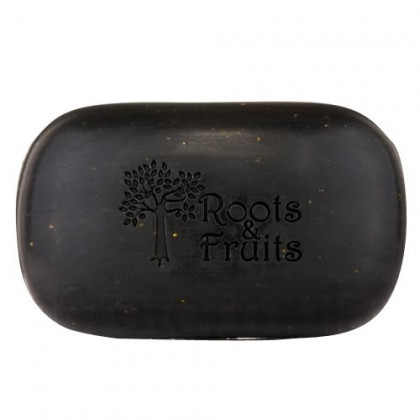 Roots & Fruits Black Soap With Cocoa Butter & Orange Peel, 5 Oz