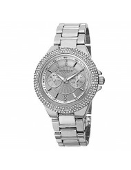 Akribos XXIV Women's Multifunction Crystal Watch - 2 Subdials Day and Date, Rows of Crystal on Bezel on Stainless Steel Bracelet - AK789