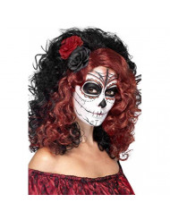 Smiffys Women's Day Of The Dead Wig, Multi, One Size